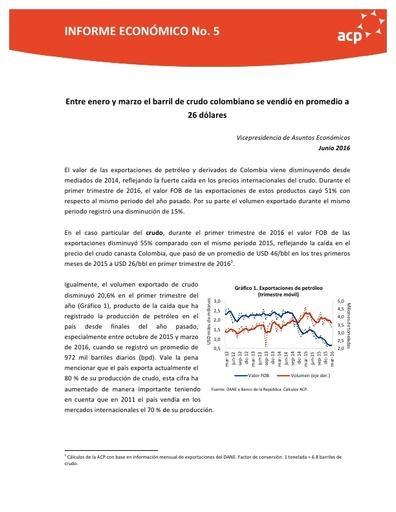 Informe económico No 5 Exportaciones jun 2016