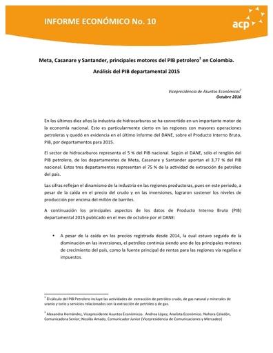 Informe octubre PIB departamental
