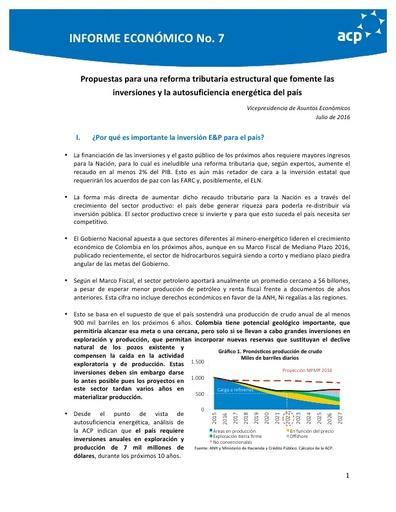 Informe económico No. 7 Posición ACP Reforma Tributaria Estructural (jul 16)