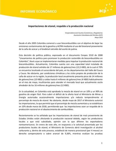 Informe económico importaciones de etanol respaldo a la producción nacional