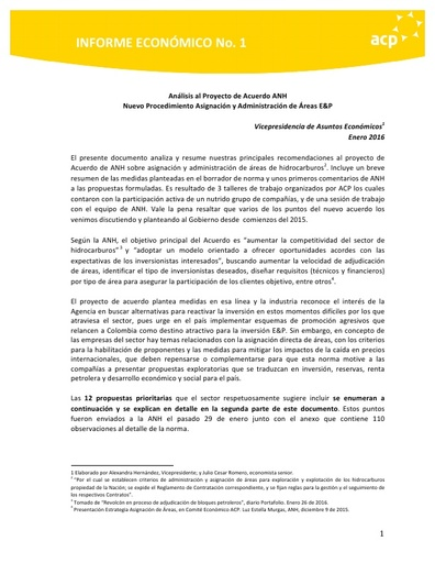 Informe económico No. 1 Análisis Proyecto Acuerdo ANH Asignación áreas