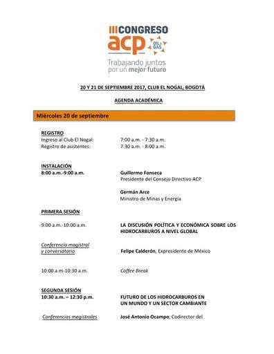 Agenda académica III Congreso ACP 2017