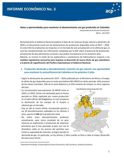 Informe económico No. 3 Retos y oportunidades para mantener el abastecimiento con gas producido en Colombia