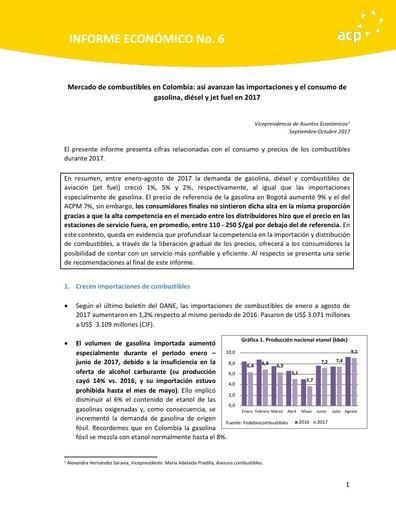Informe Económico Octubre Mercado de combustibles en Colombia: así avanzan las importaciones y el consumo de gasolina, diésel y jet fuel en 2017