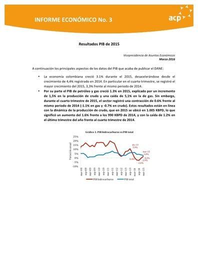 Informe económico No 3 Resumen PIB 2015 mar 2016