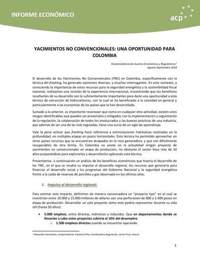 Informe económico Yacimientos No Convencionales noviembre 2018