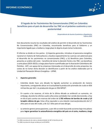 Informe económico Legado YNC para Colombia ACP