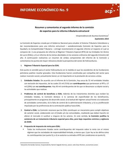 Análisis Segundo Informe Comisión Tributaria
