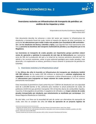 Informe Económico No. 2 Inversiones recientes en infraestructura de transporte de petróleo: un análisis de los impactos y retos