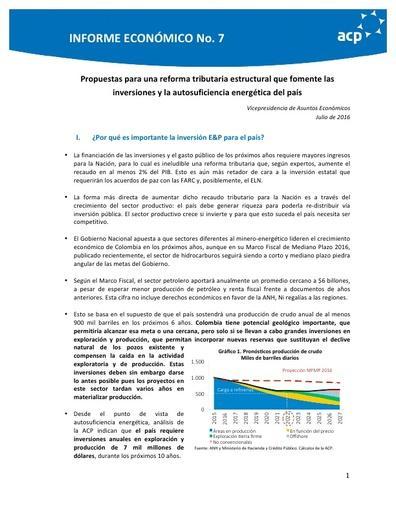 Informe económico No 7 Posición ACP Reforma Tributaria Estrcutural jul 2016