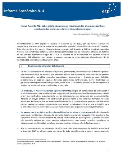 Informe económico No. 4 Nuevo Acuerdo ANH sobre asignación de áreas: resumen de los principales cambios, oportunidades y retos para la inversión en hidrocarburos