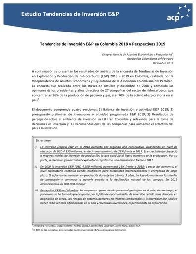 Informe Económico Tendencias de Inversión E&P en Colombia 2018 y Perspectivas 2019
