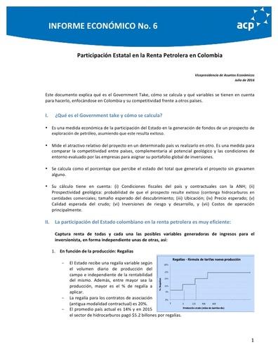 Informe económico No. 6 Resumen GT petrolero (jul 16)