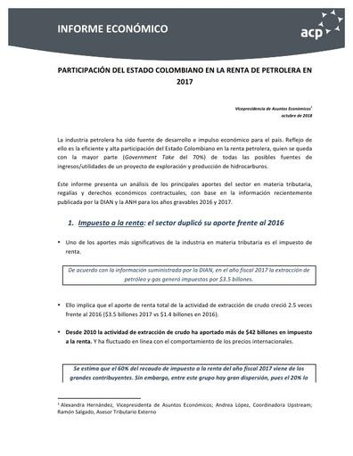 INFORME ECONÓMICO PARTICIPATIVO DEL ESTADO COLOMBIANO EN LA RENTA DE PETROLERA EN 2017