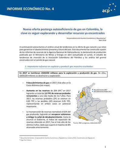 INFORME ECONÓMICO DE GAS NATURAL ABRIL 2018