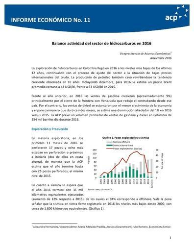 Informe económico No 11 Noviembre 2016