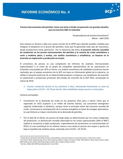 Informe económico No. 4 Perspectivas precios internacionales