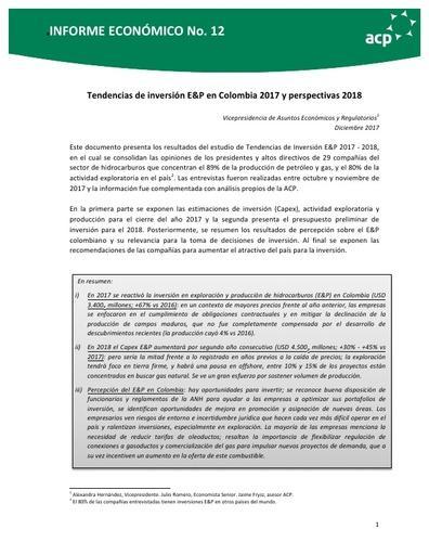 Informe Tendencias de inversión E&P en Colombia 2017 y perspectivas 2018