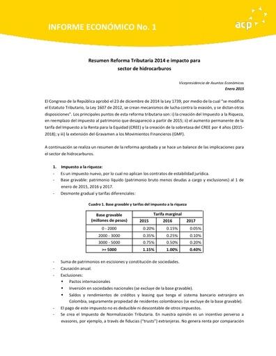 Análisis Reforma Tributaria 2014 Enero 2015