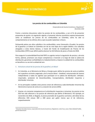 INFORME ECONÓMICO PRECIOS DE LOS COMBUSTIBLES EN COLOMBIA 2018